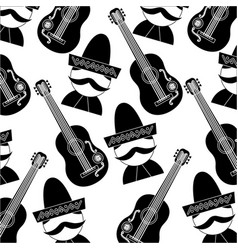 mexican man and guitar tradition seamless pattern vector image