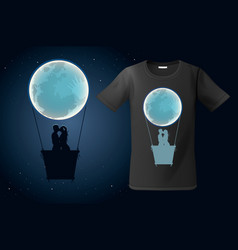 moon hot air ballon with two kissing people vector image
