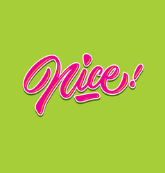 Nice hand lettering typography compliment words vector