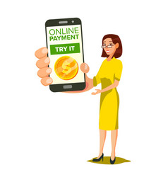 online payment smiling woman showing smart vector image