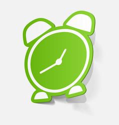 Paper sticker alarm clock vector