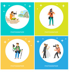 photographers taking picture with photo equipment vector image