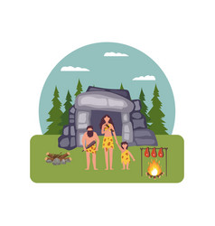 Prehistoric house with primitive people characters vector