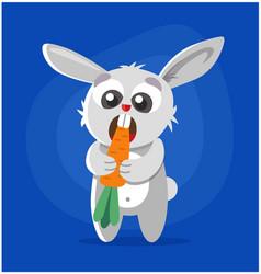 Rabbit eats carrot vector