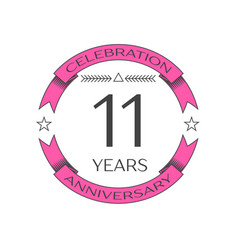 Realistic eleven years anniversary celebration vector