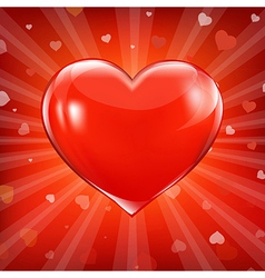 Red Heart And Background With Beams vector image