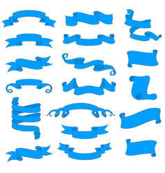 ribbon and paper scrolls blue icons set vector image