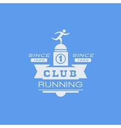 Running Club Blue Label Design vector