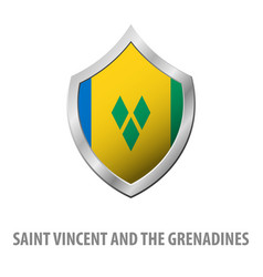 Saint vincent and the grenadines flag on metal vector