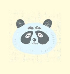 scandinavian style cute panda face with smile vector image