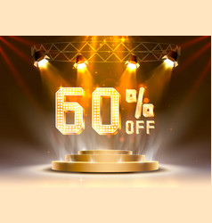 Scene golden 60 sale off text banner night sign vector