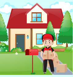 Scene with postman delivering parcles vector