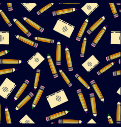 school seamless pattern with color pencil and vector image