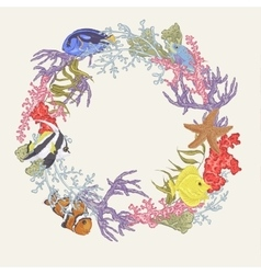 Sea life vintage round frame with fish and seaweed vector