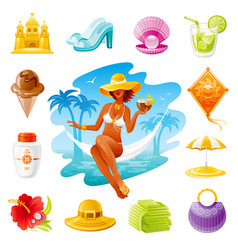 sea travel icons beautiful girl sitting in vector image