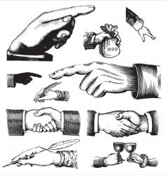 set antique hands engravings vector image