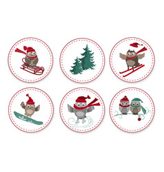 set greeting labels with cute owls and fir tree vector image
