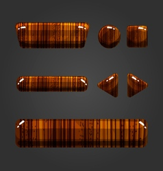 Set of wooden button for game design-2 vector