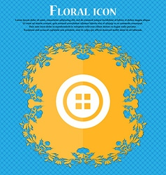 Sewing button sign Floral flat design on a blue vector image