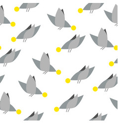 silhouettes cute birds seamless pattern vector image