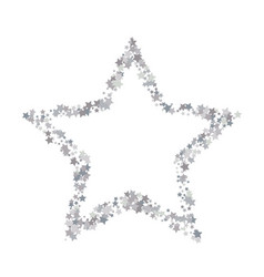 silver shimmering stars on white background with vector image