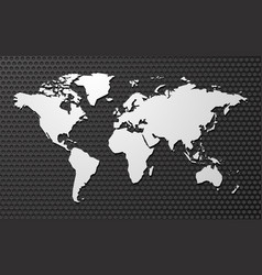 Simple blank map of the world on metal background vector