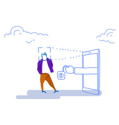 smartphone scanning man face id unlock padlock vector image