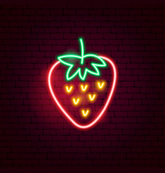 strawberry neon sign vector image