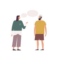 Stylish woman and hipster bearded guy talking each vector
