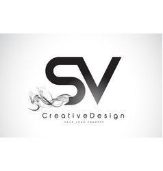 Sv letter logo design with black smoke vector
