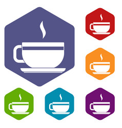 tea cup and saucer icons set hexagon vector image