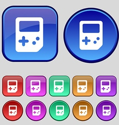 Tetris icon sign A set of twelve vintage buttons vector image