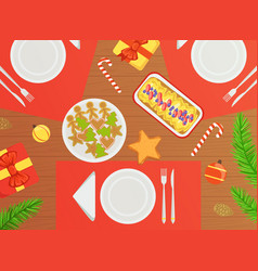 Top view holiday festive table traditional vector