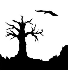 tree and raven vector image