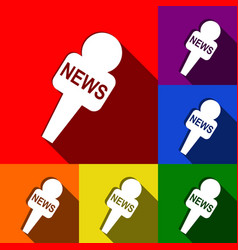 tv news microphone sign set vector image