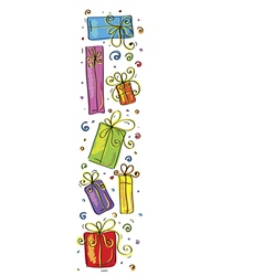 Vertical border with gifts vector