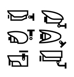 video surveillance new black set symbols vector image