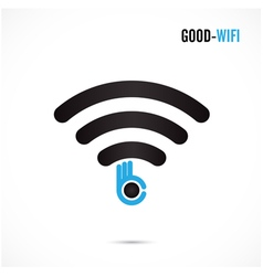 Wifi sign and hand icon design vector