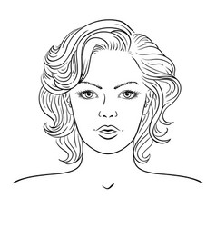 young woman face fashion hairstyle vector image