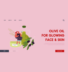 young woman use olive oil in cosmetics website vector image