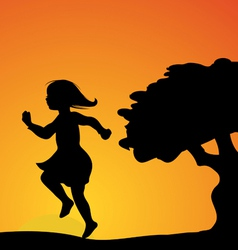 girl skipping sunset vector image vector image