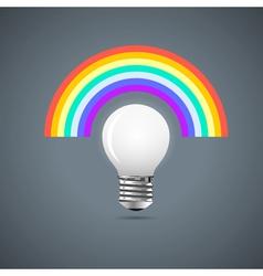 Light bulb with rainbow vector image vector image