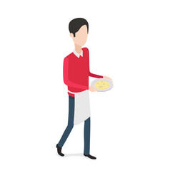 restaurant walking waiter with plate in hands vector image