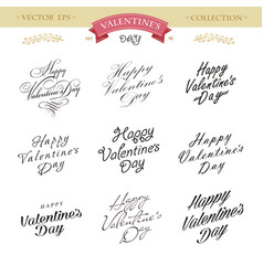 Romantic valentines day lettering set calligraphy vector