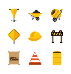 set tools construction equipment supplies vector image vector image