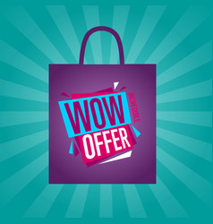wow offer sticker on package silhouette vector image