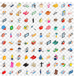 100 female icons set isometric 3d style vector image