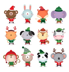 Collection of cute animals design with Christmas vector image vector image