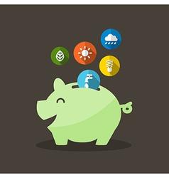 Energy Saving with Piggy Bank vector image