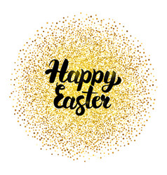 happy easter lettering over gold vector image vector image